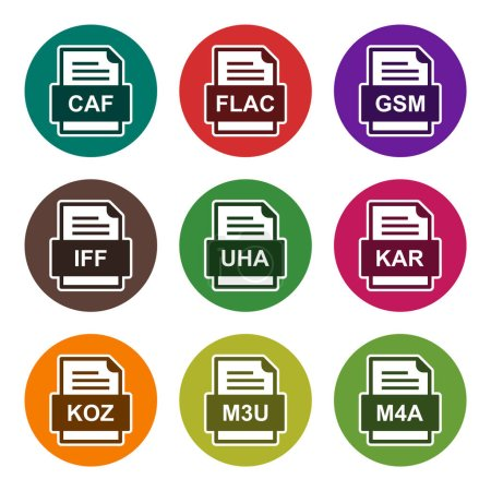 Set of 9 file formats icons
