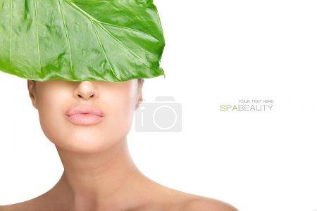 Photo pour Beauté dans le concept de spa avec une magnifique femme naturelle tenant une feuille verte fraîche à ses yeux tout en envoyant un baiser à la caméra. Portrait rapproché isolé sur blanc avec copyspace pour le texte - image libre de droit
