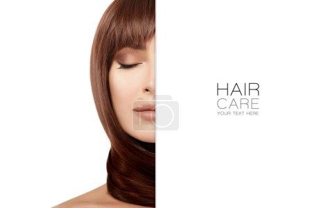 Schönheitskonzept der Haarpflege mit der schönen brünetten Frau