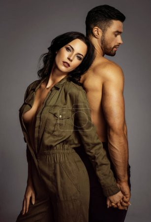 Photo for Studio portrait of beautiful young couple - Royalty Free Image