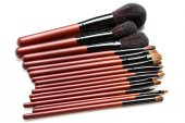 Professional makeup brushes with natural fur