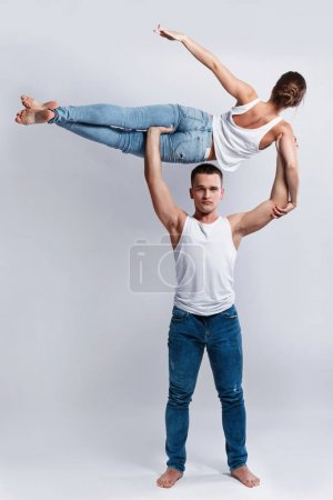 Photo for Dancers doing different dance elements in studio - Royalty Free Image