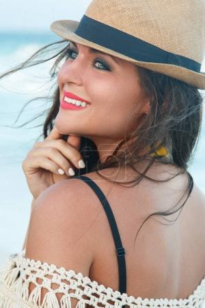 Beautiful woman wearing a hat