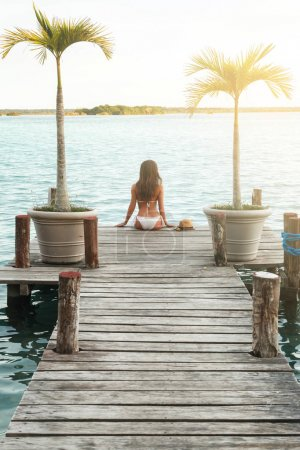 Beautiful in the bikini on the wooden pier