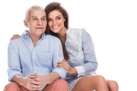 woman and elderly father
