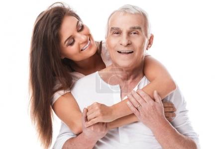 elderly father and beautiful daughter