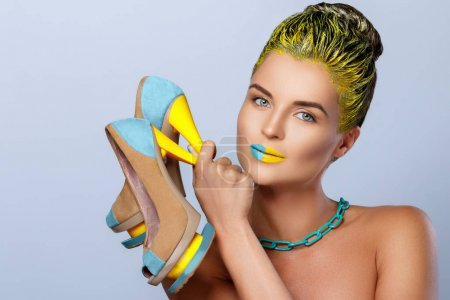 Beautiful woman with yellow hair
