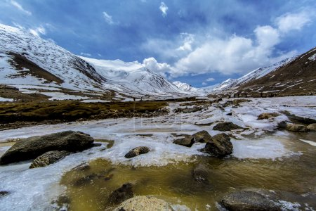 Along way at Khardung La Pass in Ladakh, India. Khardung La is a high mountain pass located in the Ladakh region of the Indian state of Jammu and Kashmir. The elevation of Khardung La is 5,359 m.