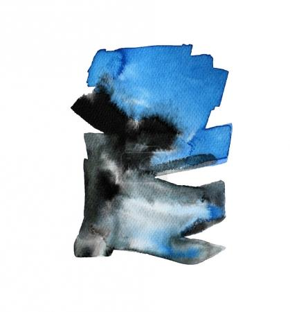 Blue and black watercolor shapes.