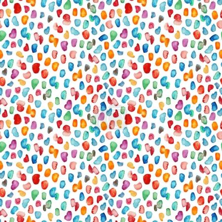 Seamless pattern with colorful watercolor drops.