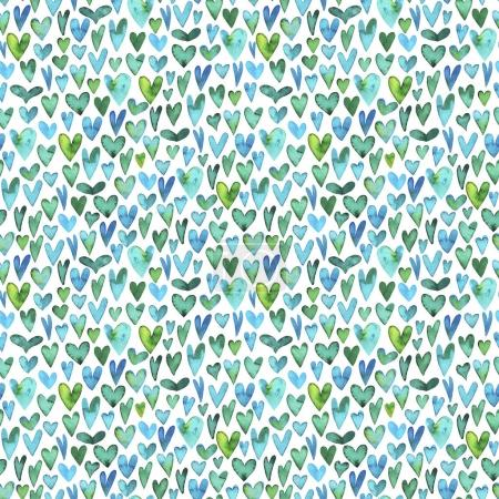 Seamless pattern with green watercolor hearts.