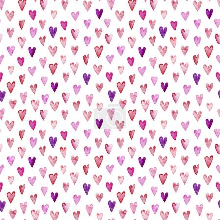 Seamless pattern with pink watercolor hearts.
