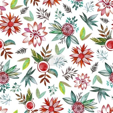 Seamless pattern with abstract watercolor flowers.