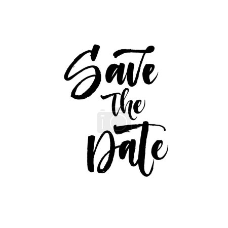 Illustration for Save the date postcard. Hand drawn wedding phrase. Ink illustration. Modern brush calligraphy. Isolated on white background. - Royalty Free Image
