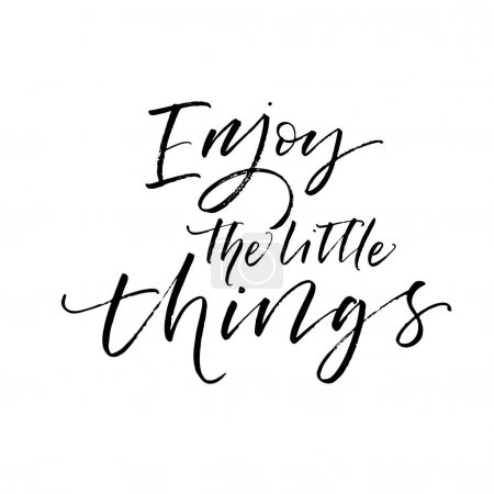 Illustration for Enjoy the little things card. Ink illustration. Modern brush calligraphy. Isolated on white background. - Royalty Free Image