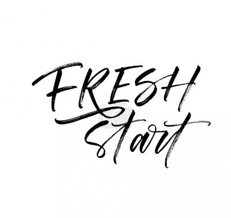 Illustration for Fresh start postcard. Motivation lettering. Ink illustration. Modern brush calligraphy. Isolated on white background. - Royalty Free Image