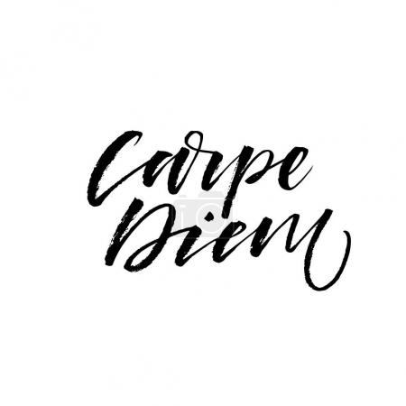 Illustration for Carpe diem - latin phrase means Capture the moment. Inspirational quote. Ink illustration. Modern brush calligraphy. Isolated on white background. - Royalty Free Image