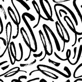 Seamless pattern with hand drawn brush strokes Ink illustration Isolated on white background Hand drawn black elements