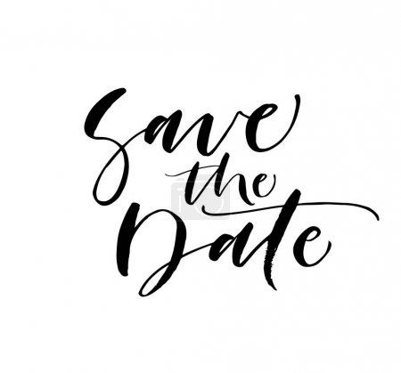 Illustration for Save the date phrase. Weddings phrase. Ink illustration. Modern brush calligraphy. Isolated on white background. - Royalty Free Image