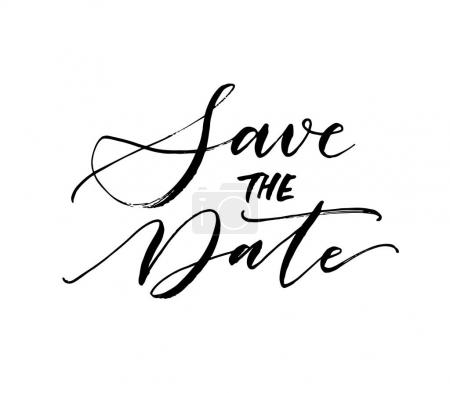 Illustration for Save the date card. Wedding phrase. Ink illustration. Modern brush calligraphy. Isolated on white background. - Royalty Free Image