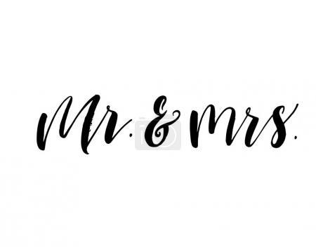 Illustration pour M. et Mme carte postale. Phrase pour la Saint Valentin et le jour du mariage. Illustration à l'encre. Calligraphie moderne au pinceau. Isolé sur fond blanc . - image libre de droit