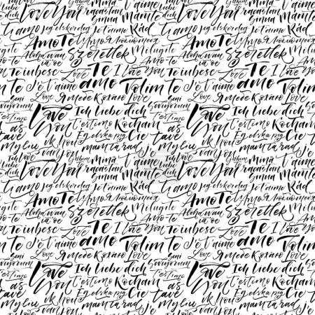 Illustration for Seamless pattern with I love you in different languages. Ink illustration. Modern brush calligraphy. Ornament for Valentine's day. - Royalty Free Image