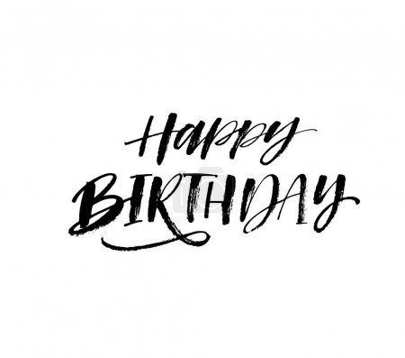 Illustration for Happy Birthday phrase. Ink illustration. Modern brush calligraphy. Isolated on white background. - Royalty Free Image