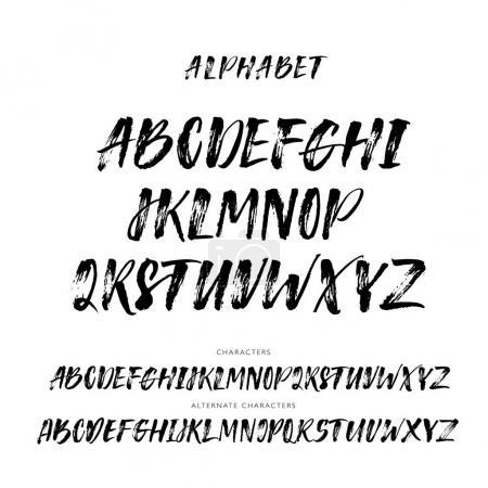 Illustration for Set of hand drawn alphabet letters. Vector alphabet. Hand drawn letters. Ink illustration. Modern brush calligraphy. Isolated on white background. - Royalty Free Image
