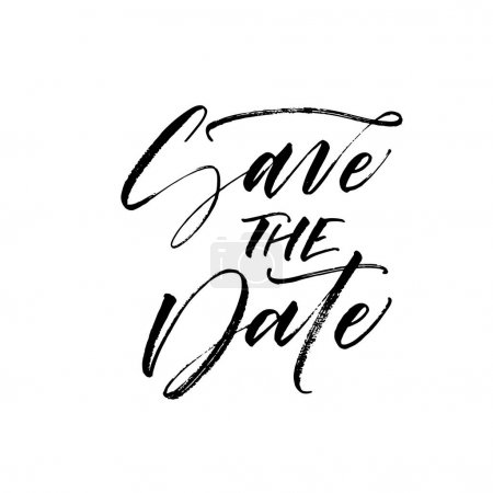 Illustration for Save the date postcard. Weddings phrase. Ink illustration. Modern brush calligraphy. Isolated on white background. - Royalty Free Image