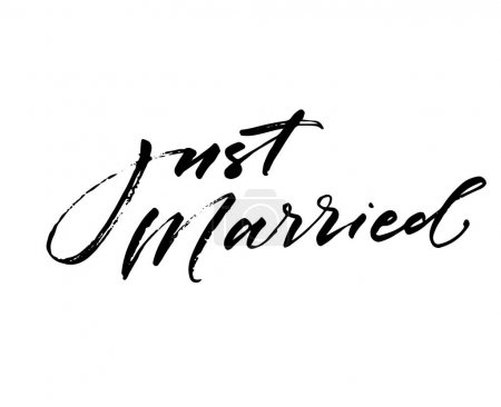 Illustration for Just married phrase. Wedding phrase. Ink illustration. Modern brush calligraphy. Isolated on white background. - Royalty Free Image