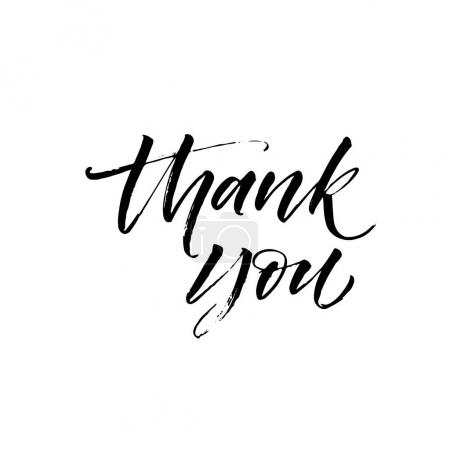 Illustration for Thank you postcard. Hand drawn greeting card. Ink illustration. Modern brush calligraphy. Isolated on white background. - Royalty Free Image