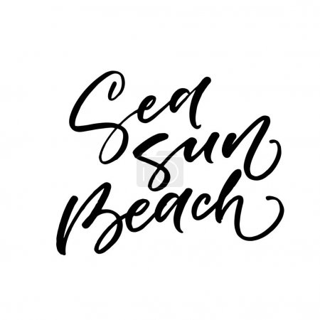 Sea sun beach postcard.