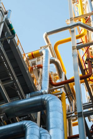 Photo for Industrial factory, steel pipelines, tubes at brewery production. Large workshop with tools equipment - Royalty Free Image