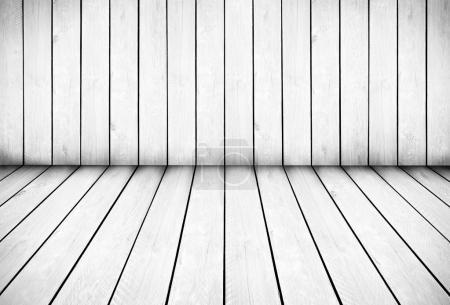 Photo pour Fond de mur et plancher en lattes de bois blanc - image libre de droit
