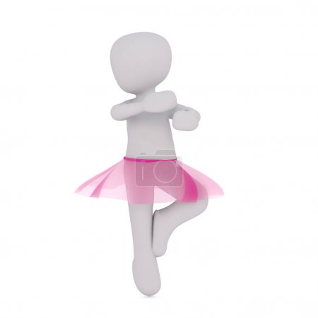 Little faceless cartoon ballet dancer character in...