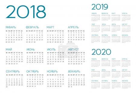 Russian Calendar 2018-2019-2020 vector