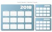 English Calendar 2018 2019 2020 blue gray vector