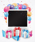 Gifts and balloons birthday card with empty photo frame