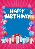 Happy birthday greeting card with gifts and balloons vector illustration