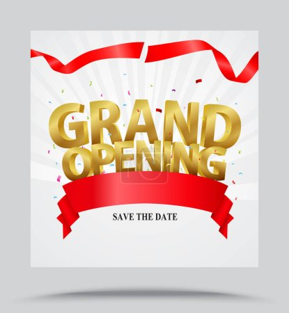 Vector Illustration of Grand opening card with rib...
