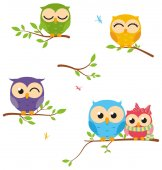 Owls sitting on the tree vector illustration