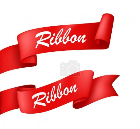 two red ribbons on white