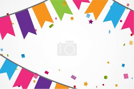 Illustration for Colorful celebration frame background with confetti and flags. Vector illustration - Royalty Free Image