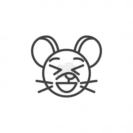 Illustration for Laughing rat emoticon line icon. linear style sign for mobile concept and web design. Happy mouse face emoji outline vector icon. Chinese 2020 year of the rat symbol, logo illustration. - Royalty Free Image