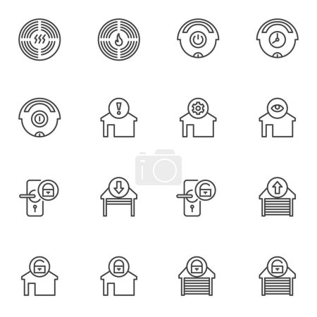 Illustration for Smart home control system line icons set. Home automation linear style symbols collection, outline signs pack. vector graphics. Set includes icons as garage door lock, temperature climate control - Royalty Free Image