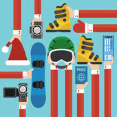 New Year Holiday with snowboard set design flatVector illustration