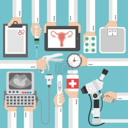 Illustration pour Gynécologie médicale et conception plate de grossesse.Illustration vectorielle - image libre de droit