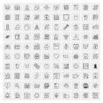 100 Universal Black Line Icons on White Background...