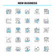 25 New Business Black and Blue icon Set. Creative Icon Design and logo template