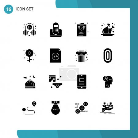 Illustration for Solid Glyph Pack of 16 Universal Symbols of plate, leg, device, chicken, ticket Editable Vector Design Elements - Royalty Free Image